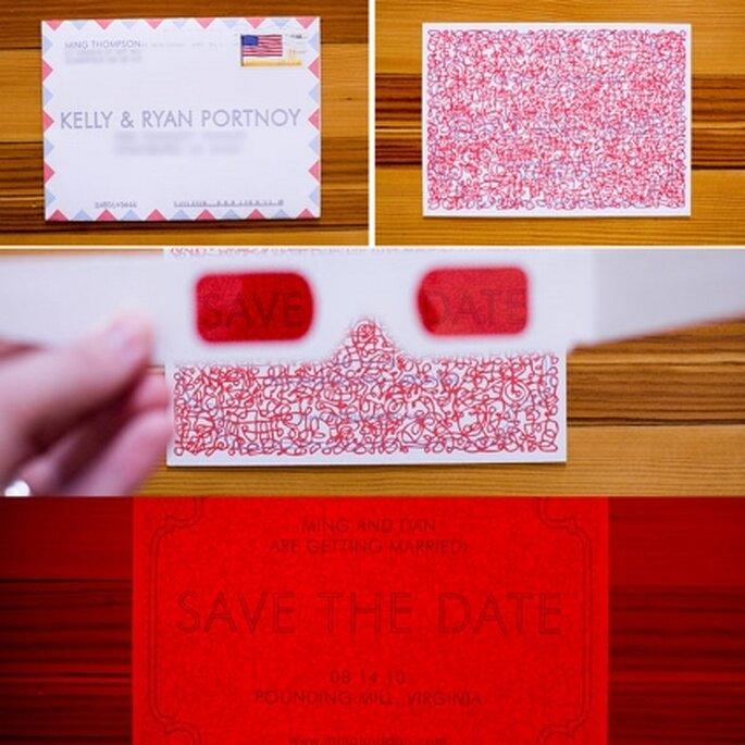 Invitación 3D original para boda. Mensaje secreto