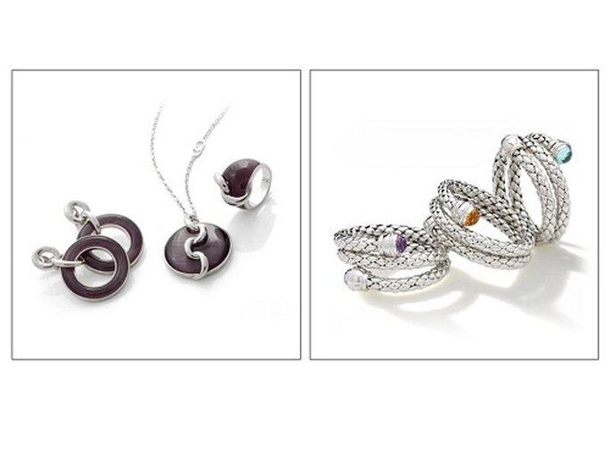 Due proposte Hd Silver: una parure con occhio di gatto viola e bracciali con quarzo, topazio e ametista. Foto: www.chimento.it