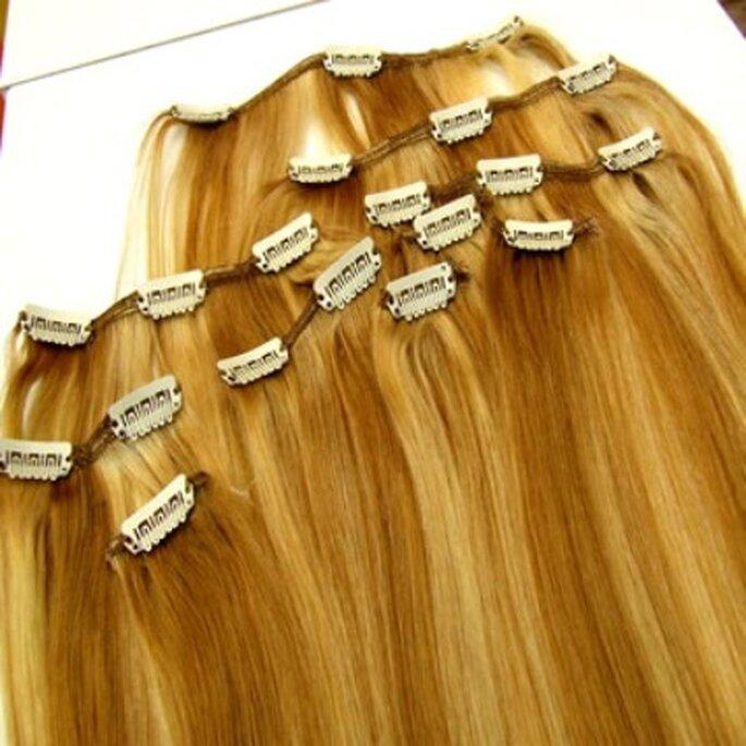 Apliques de cabelo com clipes - tira e põe