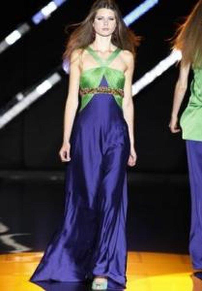 Cabotine 2010 - Vestido largo corte imperio, en seda azul y verde