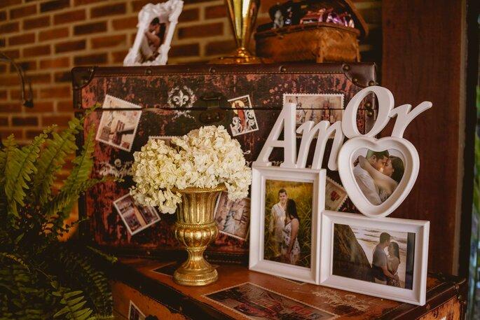 Decoração com fotos noivos