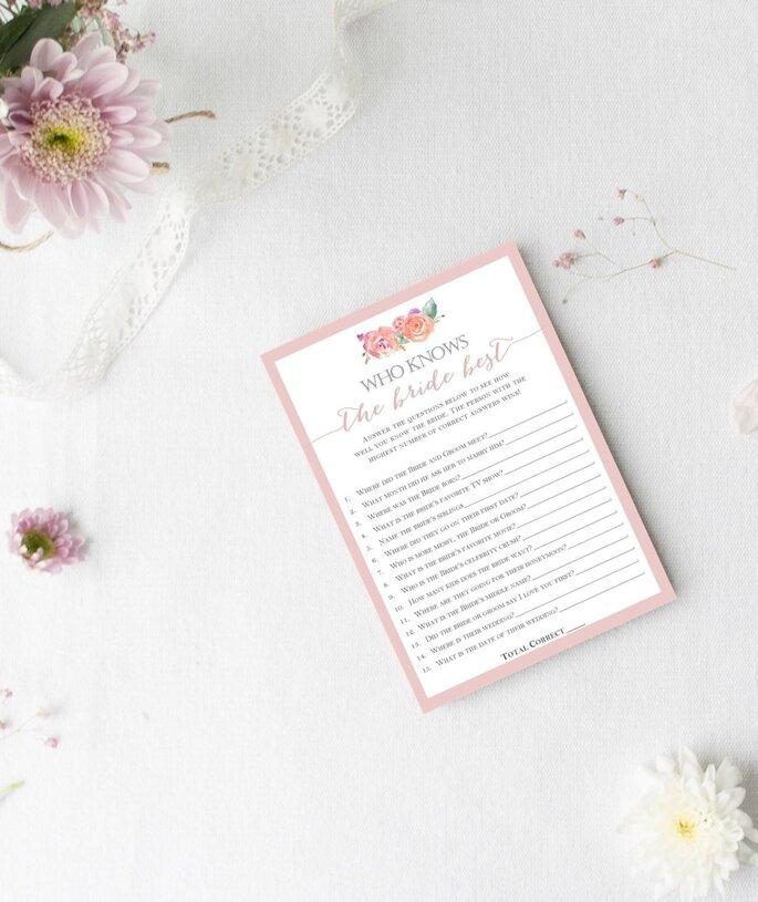 Fragenbogen: Wer kennt die Braut am besten?