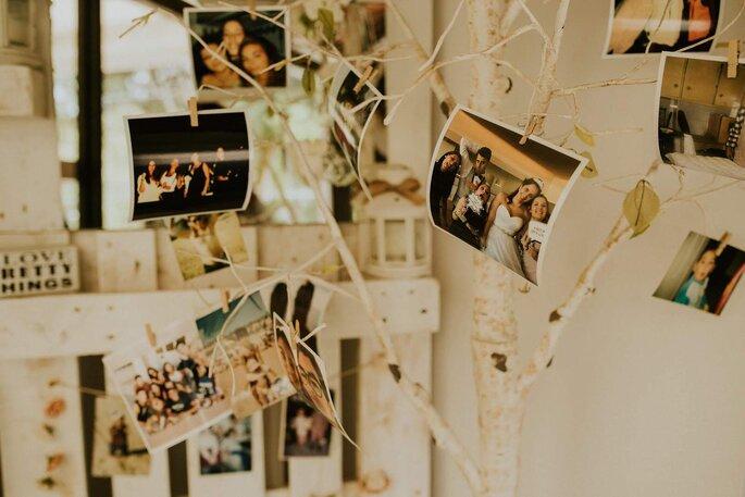 polaroids penduradas casamento