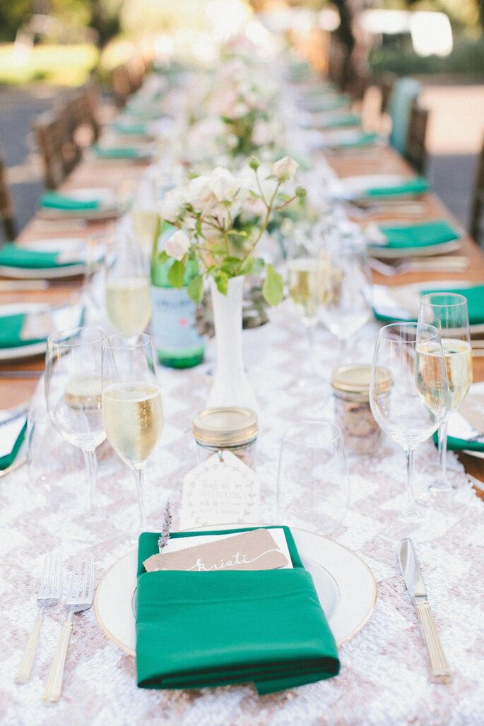 Caminos de mesa para la decoración de boda - Onelove Photography
