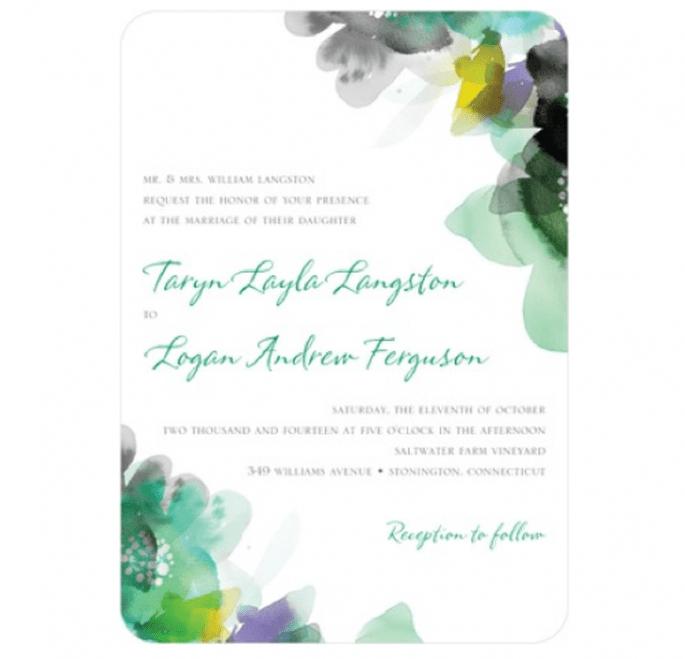 Invitaciones de boda con detalles en color verde esmeralda - Foto Wedding Paper Divas