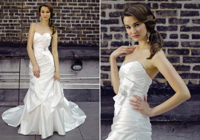 Vestido de novia de satin con un moño elegante - Foto Henry Roth, Polkadot Bride