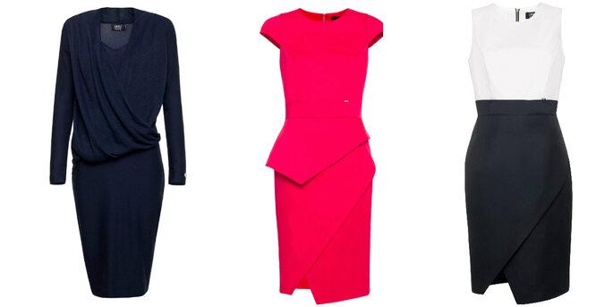 Sukienki z baskinką, zakładką oraz  drapowaniem z Simple