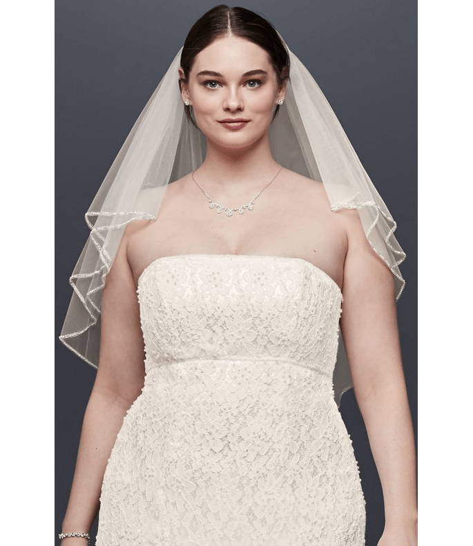 Velo de novia con volumen de dos capas