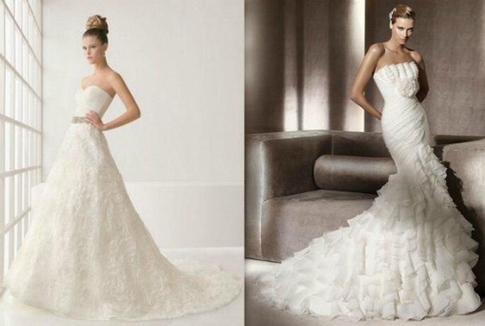 A gauche Two par Rosa Clarà 2012 Mod. Leslie. A droite Pronovias 2012 Glamour Mod. Alfil.