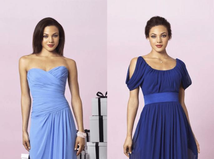 Vestidos para damas de boda en color azul pastel y azul intenso - Foto Dessy
