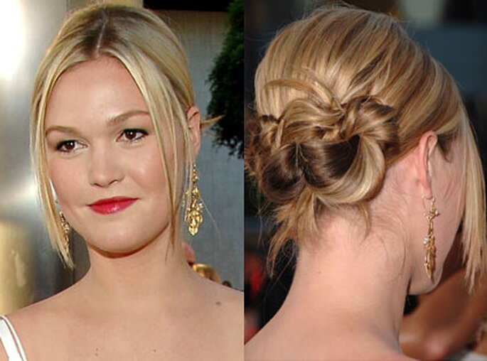 Julia Stiles looks feminine yet edgy with two loose, knot-like chignons.