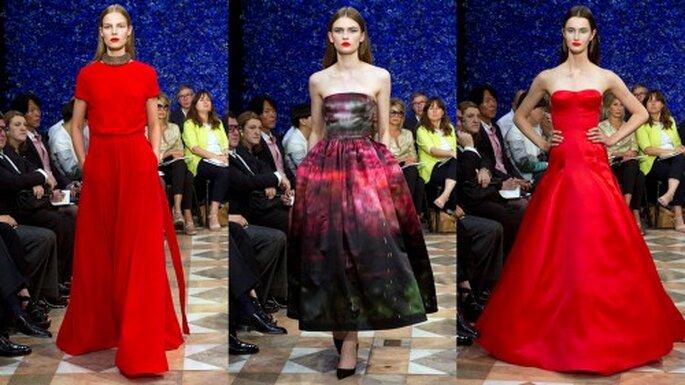 Lleva un vestido rojo a la boda. Pasarela Dior Haute Couture Paris Otoño invierno 2012/2013
