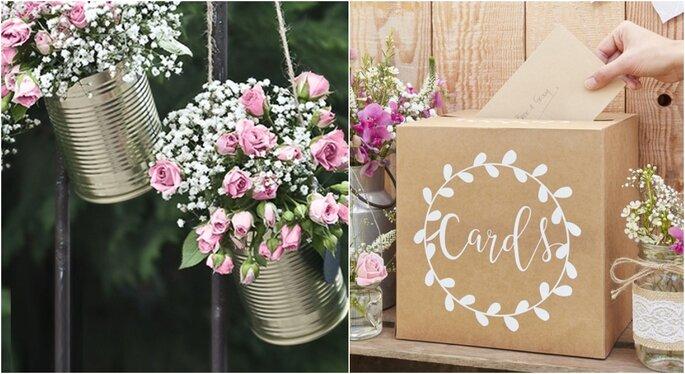 Flores para decoración de bodas rústicas