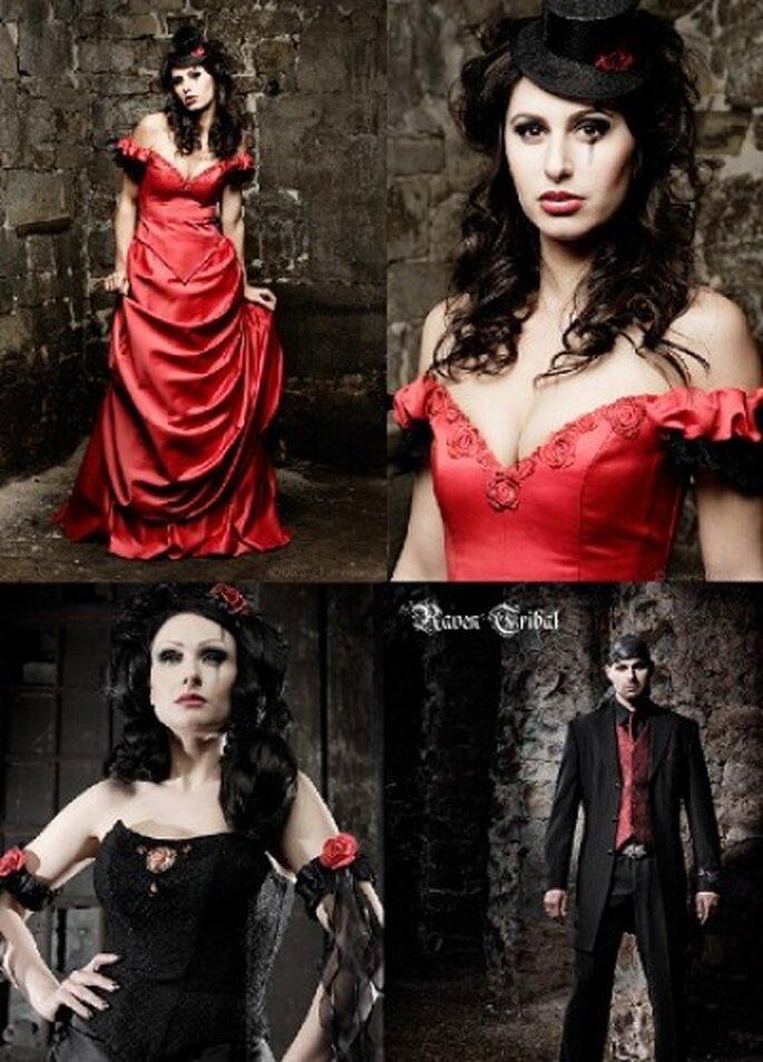 Brautmode-Romantik in Rot und Schwarz
