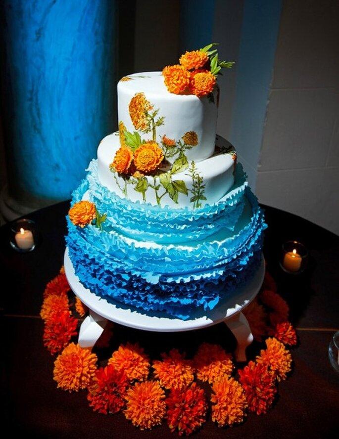 Pastel de bodas con flores de cempasúchil - Foto en Ollin76 Flickr
