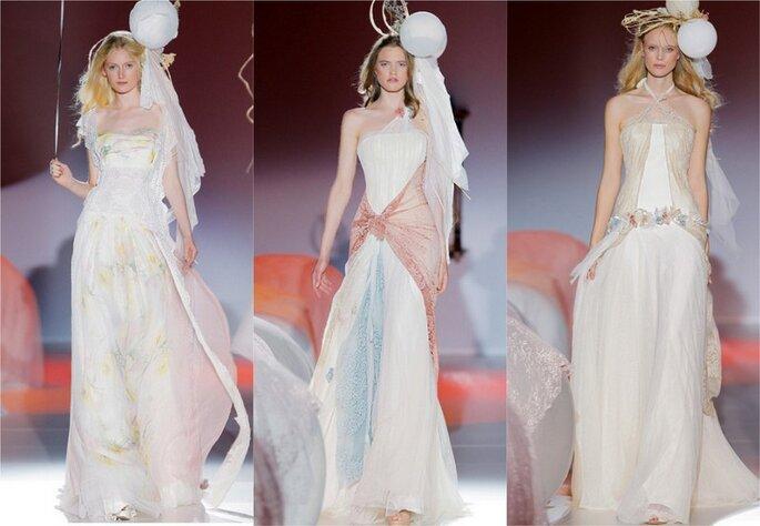 Vestidos de novia con toques en tonos pastel de Raimon Bundó 2014. Foto: www.raimonbundo.com