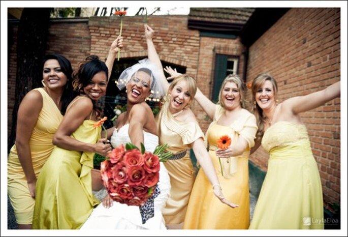 Damas de boda en amarillo. Fotografía Layla Eloa