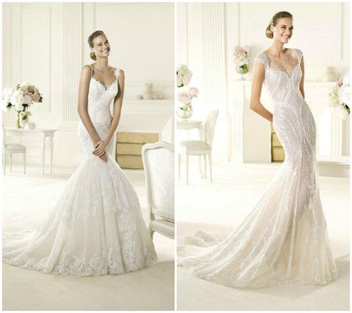 Romantica o sensuale, l'importante è che l'abito avvolga il corpo in maniera seducente come con questi modelli Pronovias 2013. Foto www.pronovias.com