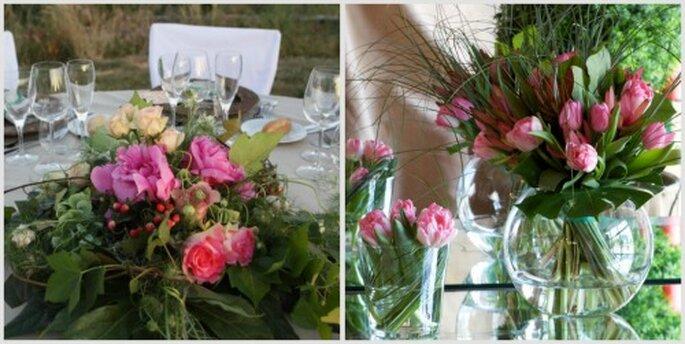 Decora tu salon de bodas con flores de diferentes tonos rosa. Fotos: Verdepimienta