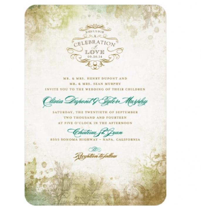 Invitación de boda vintage en colores tierra adornados con azul - Foto Wedding Paper Divas