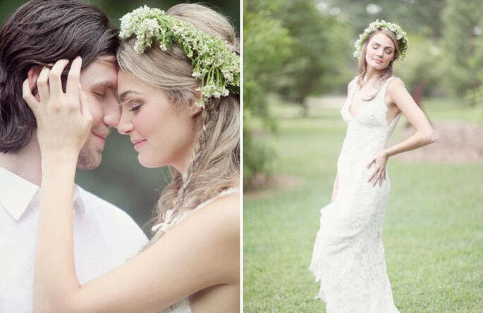 La corona di fiori dona al look della sposa un'allure romantica e free, ideale per un matrimonio all'aria aperta. Foto: Green Wedding Shoes