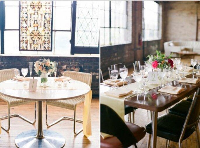 Decoración de mesa de boda vintage industrial. Fotografía Jeny Lynne