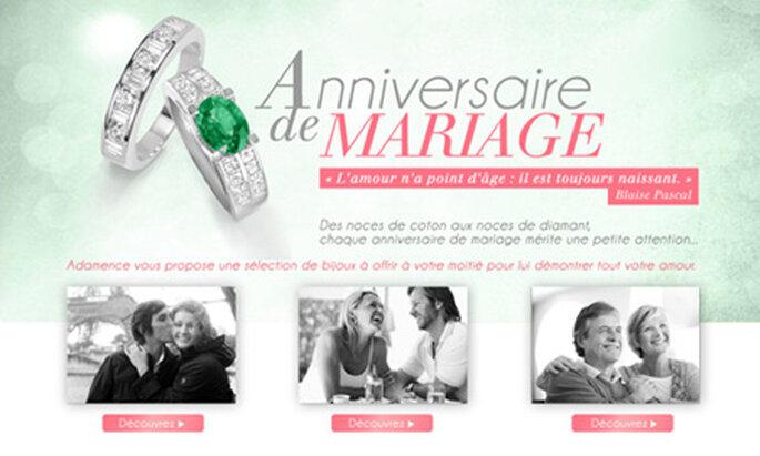 Bijoux anniversaire de mariage Adamence