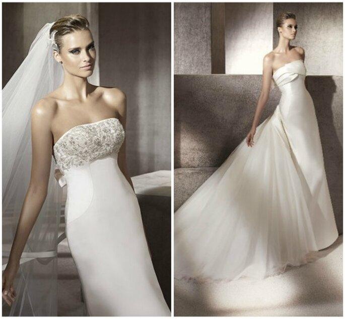 Dos preciosos vestidos de novia con escote palabra de honor. Foto: Pronovias