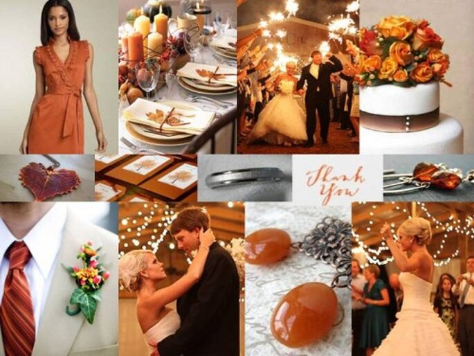 A Festive Fall Wedding Shades of Orange Gold Chocolate Brown Gray via