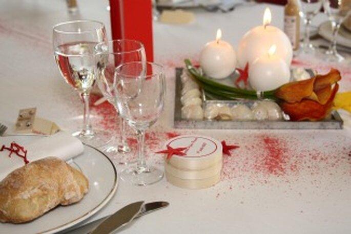 Décoration de table de mariage caramels