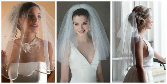 Exemples voiles courts : Photo à gauche : Voile Dejean / Photo au centre : Instant précieux / Photo à droite : So Hélo