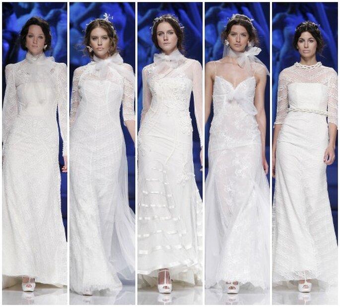 Novias ultrarrománticas en la colección de YolanCris 2013. Foto: Barcelona Bridal Week