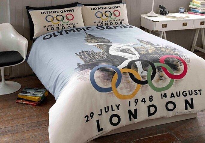 Una delle parure di lenzuola dedicate ai giochi olimpici di Londra 2012. Foto: elinens.co.uk