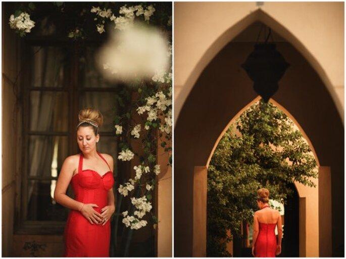 Vestido de novia con el color del año 2012. Foto Roberto y María