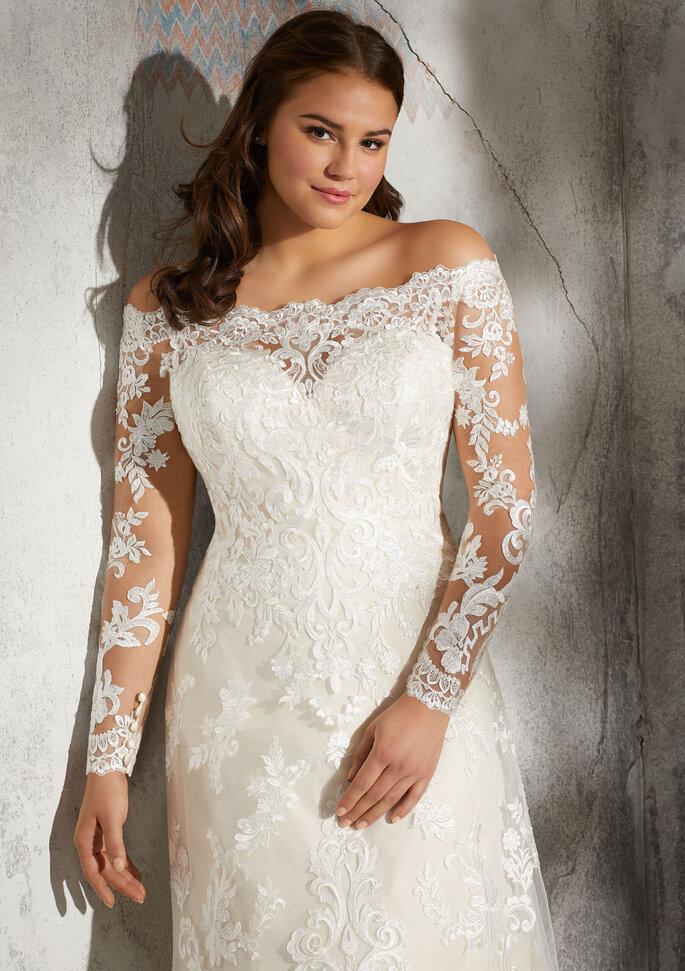 vestidos para gorditas Vestido con escote en forma de corazón adornado con bordados y cuentas de cristal.