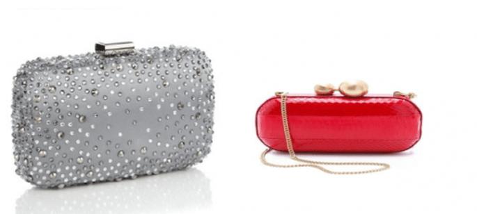 Clutches pequeños para complementar vestimenta de invitada de boda - Foto Zara y ShopBop