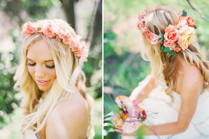 Corona de flores para novias - Fotos: Green Wedding Shoes