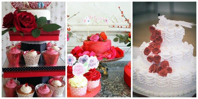 Photo à gauche : Pièce montée de cupcakes Lady Nanny Mariages / Photo au centre : Shooting Authentic Love Photography / Photo à droite : Shooting TOMA Studio