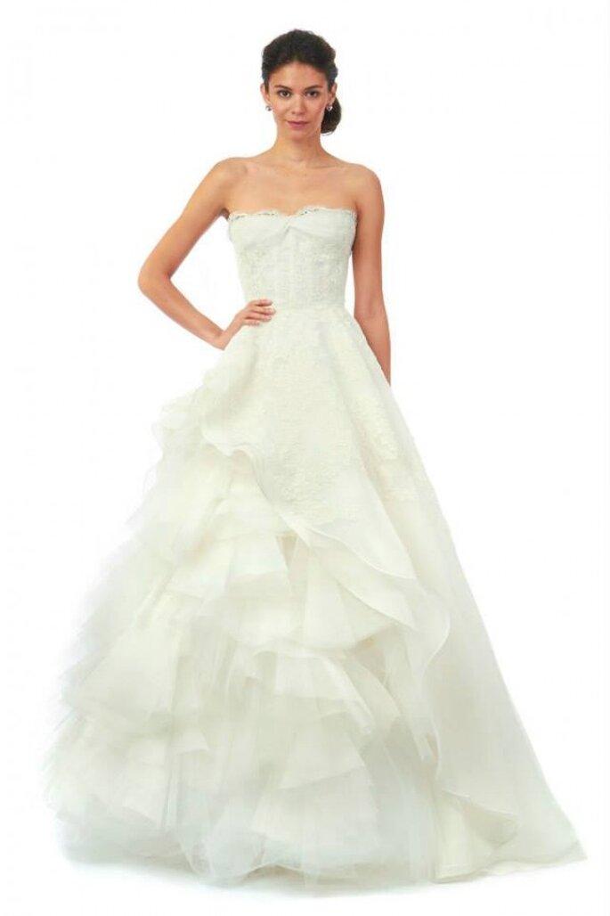 Vestido de novia en organza de seda, tul y rebordado de encaje floral. Oscar de la Renta - Colección Otoño 2014