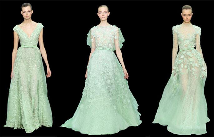 Vestidos largos con texturas en color pistache - Foto: ElieSaab.com