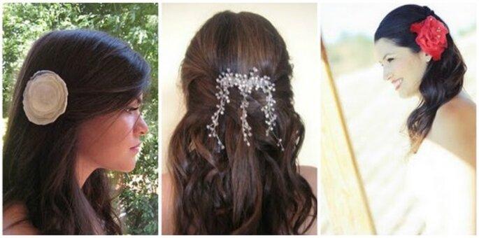 Tres propuestas de accesorios de pelo para novias. Foto Patricia Musa Novias