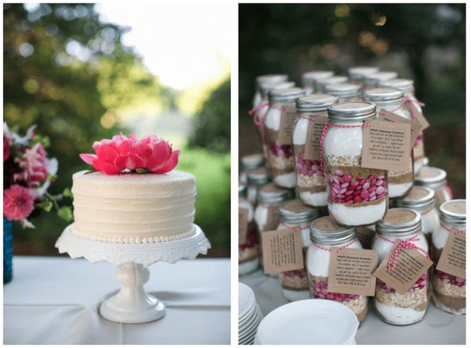 Decoración de boda con tarros de cristal - Foto Dana Cubbage
