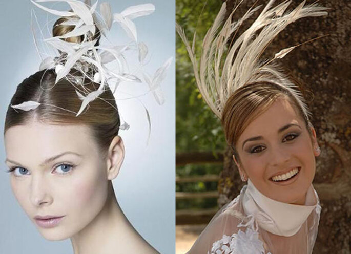 Rien de tel que des plumes pour accessoiriser une coiffure de mariée - Photo: denovia.info