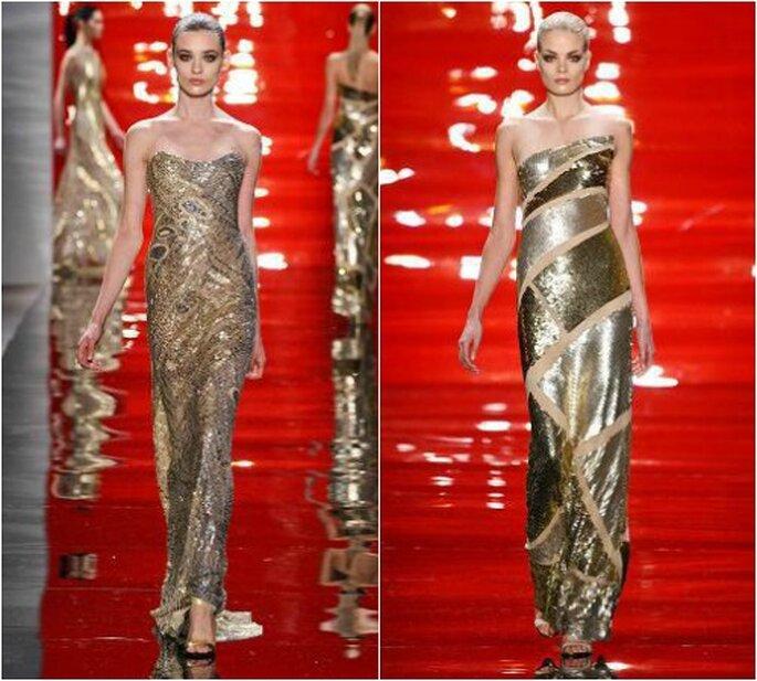 Glitzer und Gold so weit das Auge reicht – so edel können Maxi-Kleider sein – Foto: Reem Acra