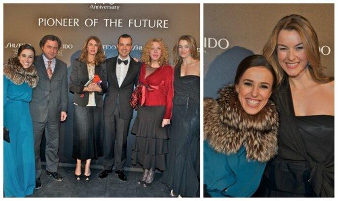 A la derecha con Rosalia Cogollo, directora de comunicación de Shiseido y a la izquierda posando junto a Frans Reina (Presidente de Shiseido España) y otros invitados.