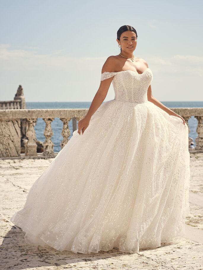 Brautkleider im Off-Shoulder-Look: elegant Haut zeigen