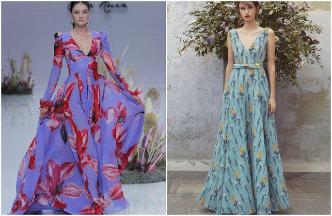 Vestido para convidada de casamento: vestidos estampados com fundo em tons de azul e flores