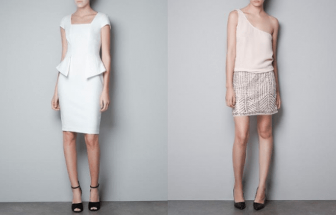 Vestidos para invitadas en colores claros y nude - Foto Zara
