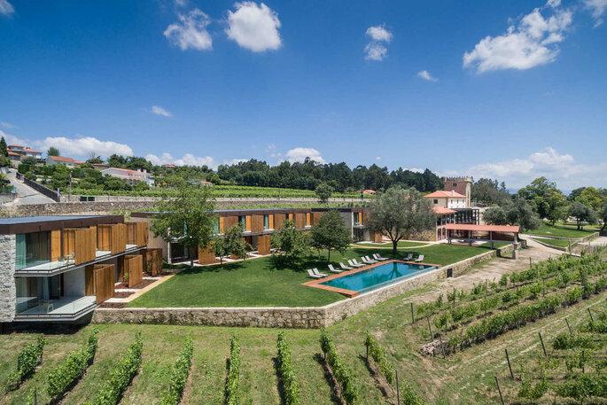 Paisagem verdejante do Torre de Gomariz Wine & Spa Hotel