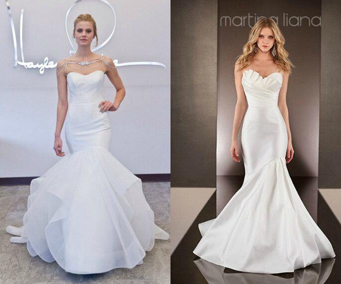 Siluetas ceñidas con escotes corazón en estos vestidos de novia - Fotos de Hayley Paige y Martina Liana